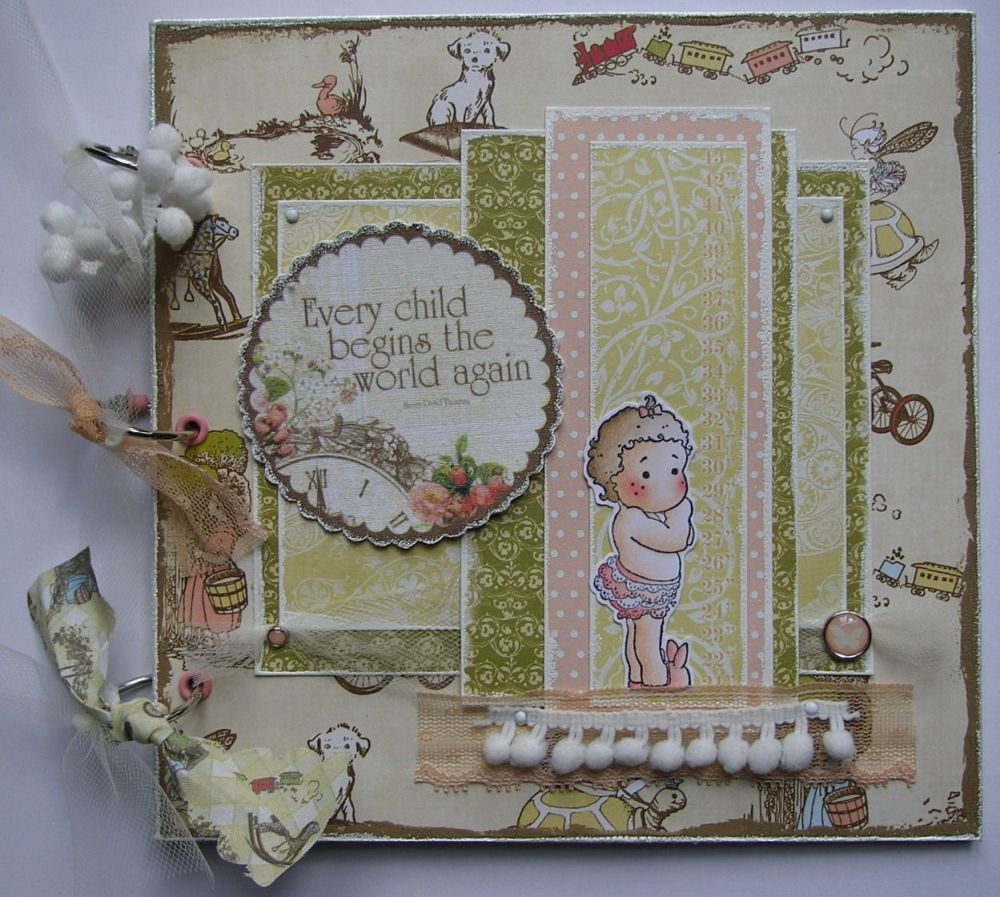 *every child begins the world again* OOAK Handmade Baby Girl Scrapbook Phot
