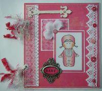 *pink baby girl* OOAK Handmade Scrapbook Photo Album