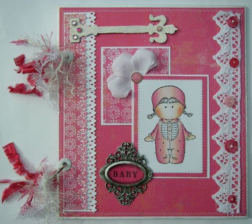 *pink baby girl* OOAK Handmade Scrapbook Photo Album