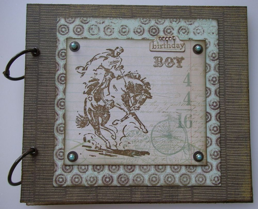 *birthday boy* Handmade Male Cowboy Birthday Scrapbook Photo Album