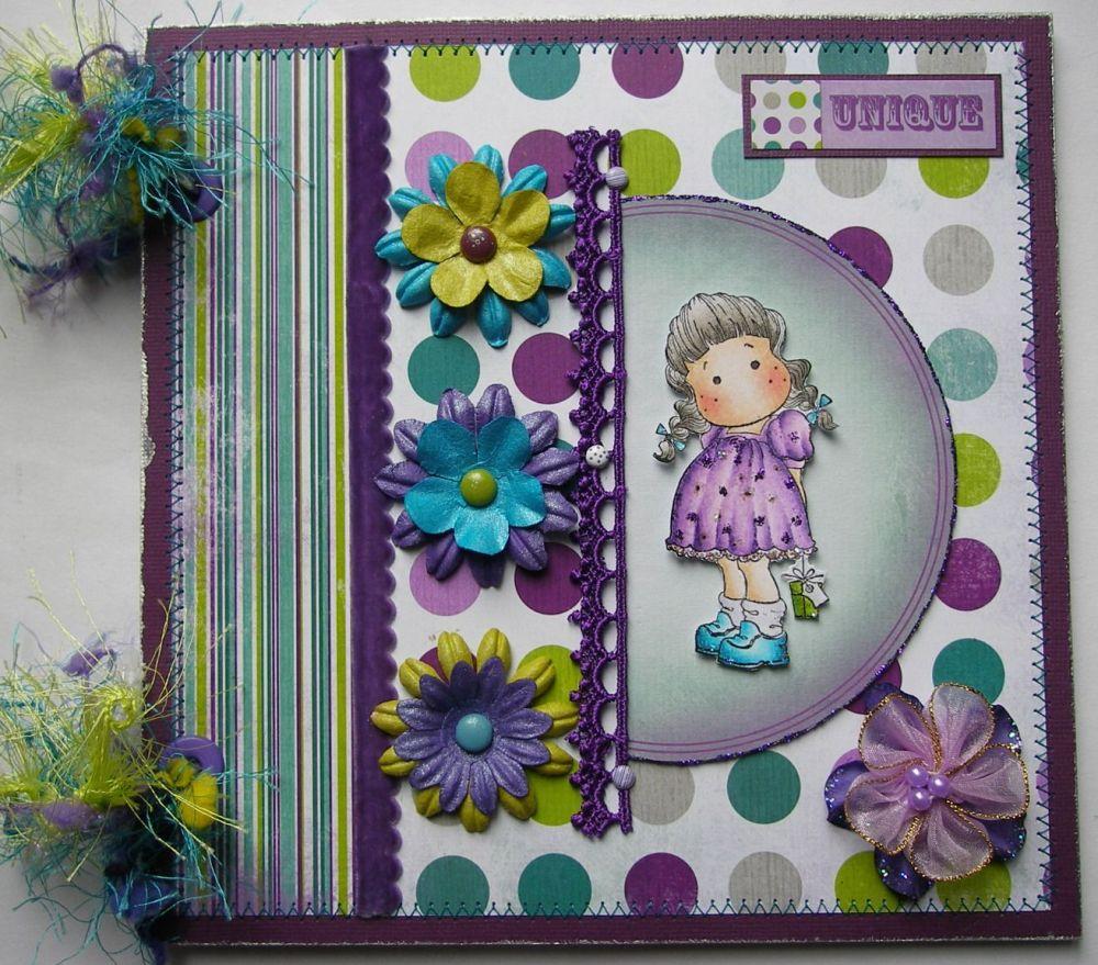 *unique* OOAK Handmade Purple Birthday Girl Scrapbook Photo Album