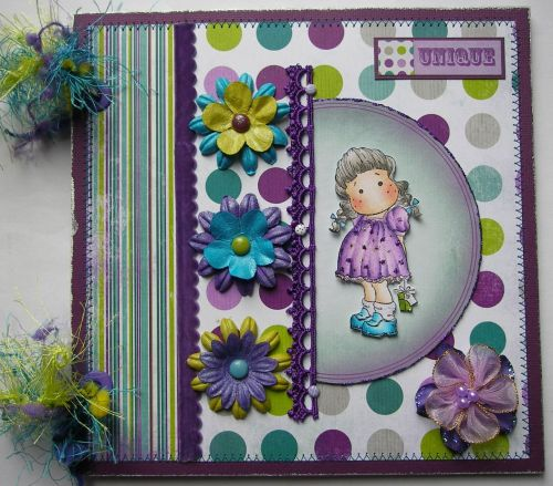 *unique* OOAK Handmade Purple Birthday Girl Scrapbook Photo Album