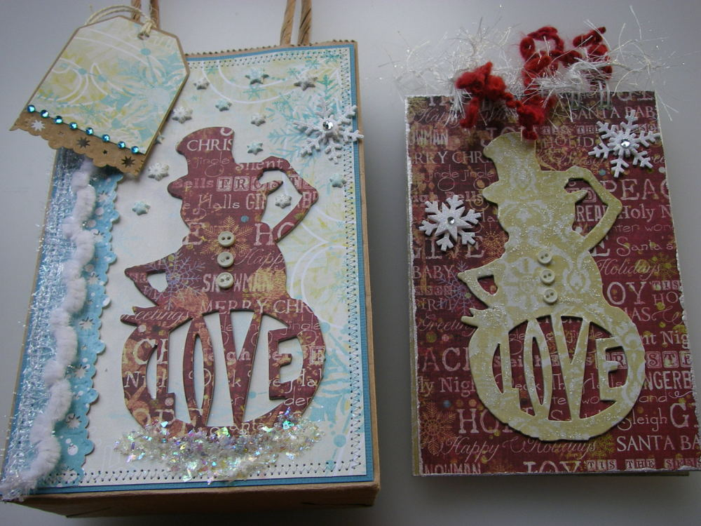 *Snowman love* OOAK Handmade Winter/Christmas Scrapbook Book in a Bag
