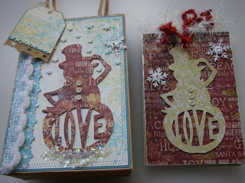 *Snowman love* OOAK Handmade Winter/Christmas Scrapbook Book in a Bag