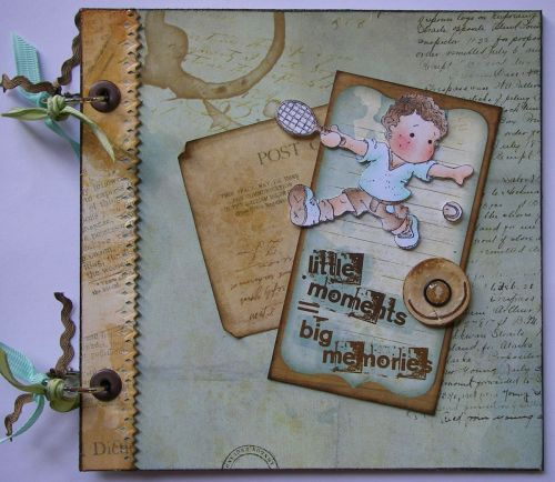 *little moments* Handmade Tennis Sports Scrapbook Photo Memory Album