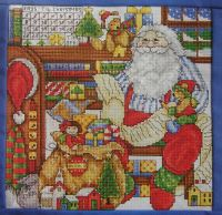 Santa in his Office on Christmas Eve ~ Cross Stitch Chart