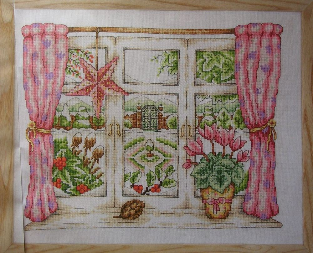 Snowy Winter Garden Through a Window ~ Cross Stitch Chart