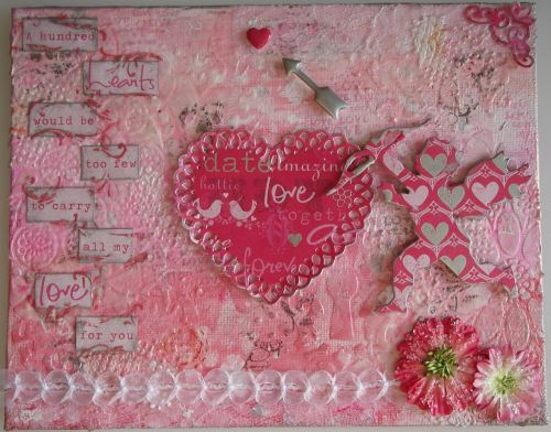 *100 hearts would be too few* Handmade Mixed Media Photo Memory Album