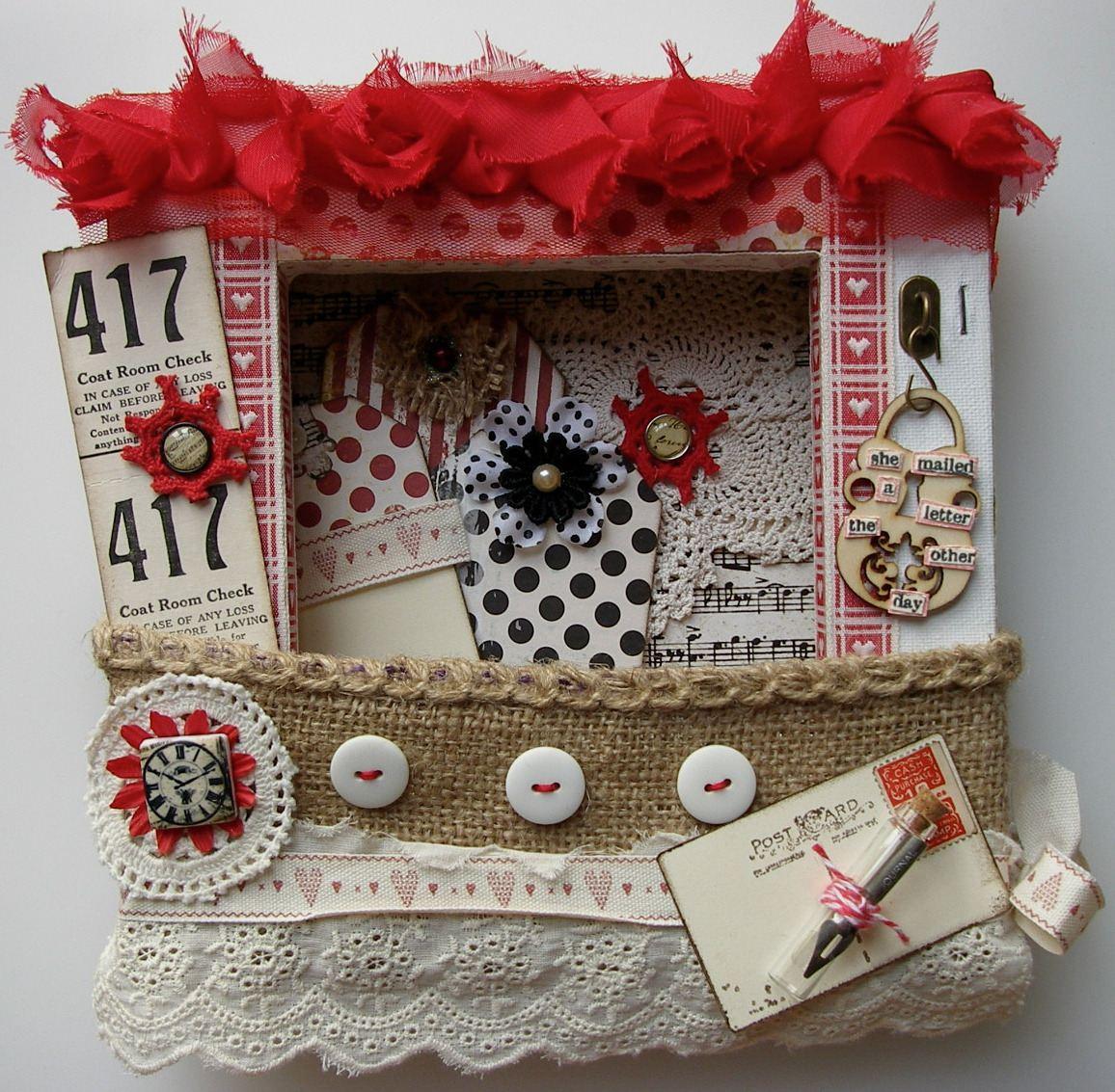 *she mailed a letter* OOAK Handmade Altered Canvas Love Letter Holder
