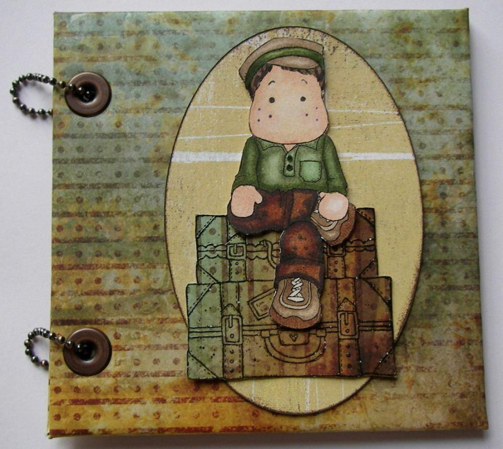 *boy on suitcase* OOAK Handmade Travel Brag Scrapbook Album