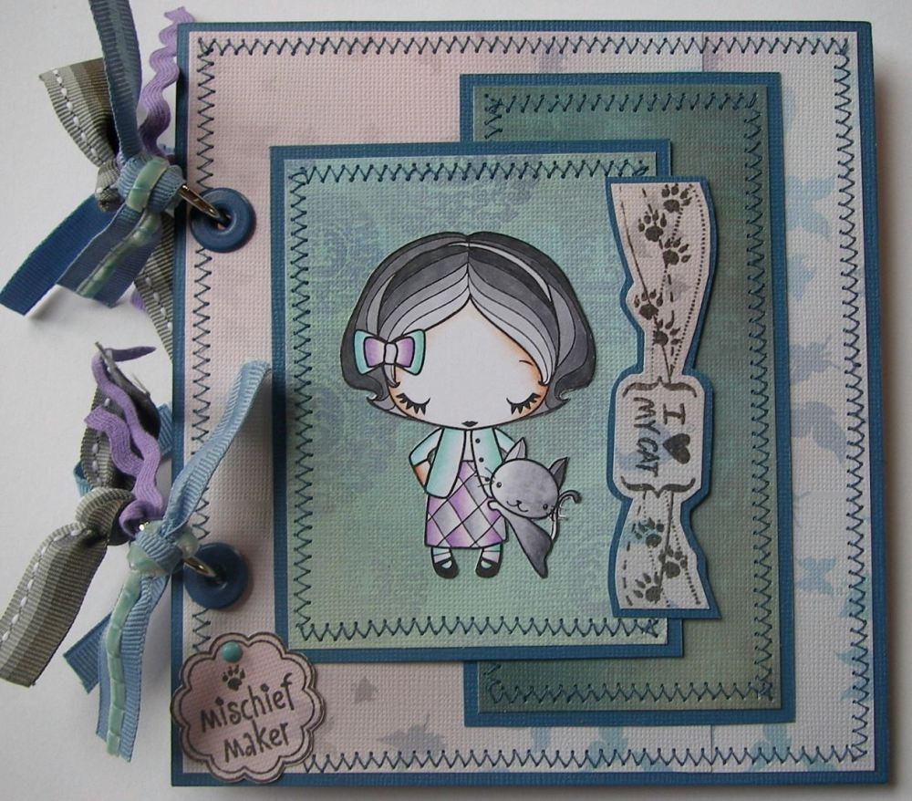 *mischief maker* OOAK Handmade Cat/Kitten Scrapbook Album