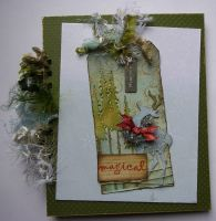 *magical* OOAK Handmade Winter/Christmas Scrapbook Photo Memory Album Journal