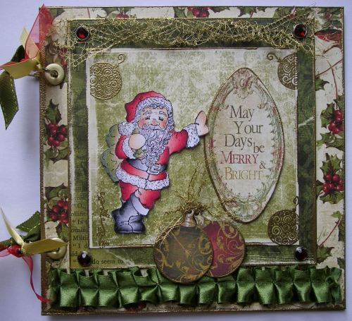 *merry & bright* OOAK Handmade Christmas Scrapbook Photo Memory Album