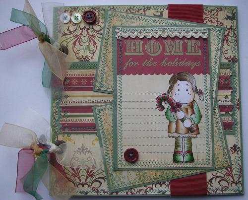 *home for the holidays* OOAK Handmade Christmas Scrapbook Album