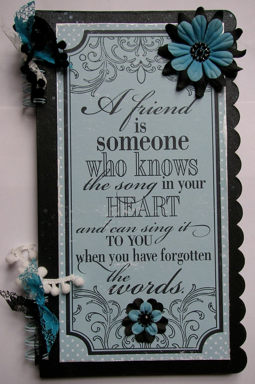 *a friend* OOAK Handmade Friendship Scrapbook Photo Memory Album