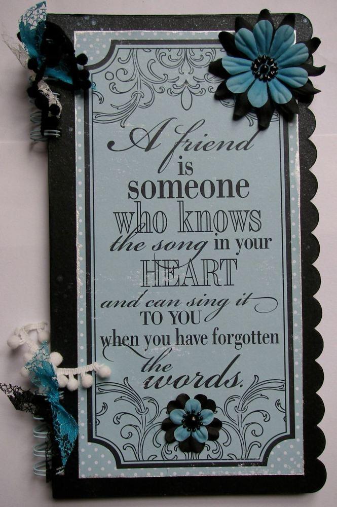 *a friend* OOAK Handmade Friendship Scrapbook Photo Memory Album