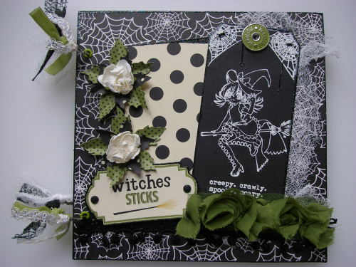*witches sticks* OOAK Handmade Halloween Scrapbook Photo Memory Album