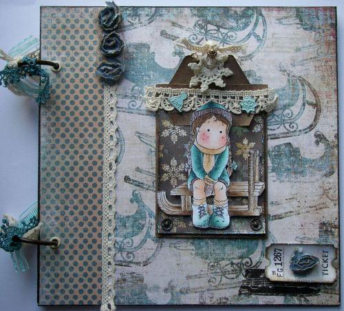 *vintage tobogganing* OOAK Handmade Winter Scrapbook Memory Album