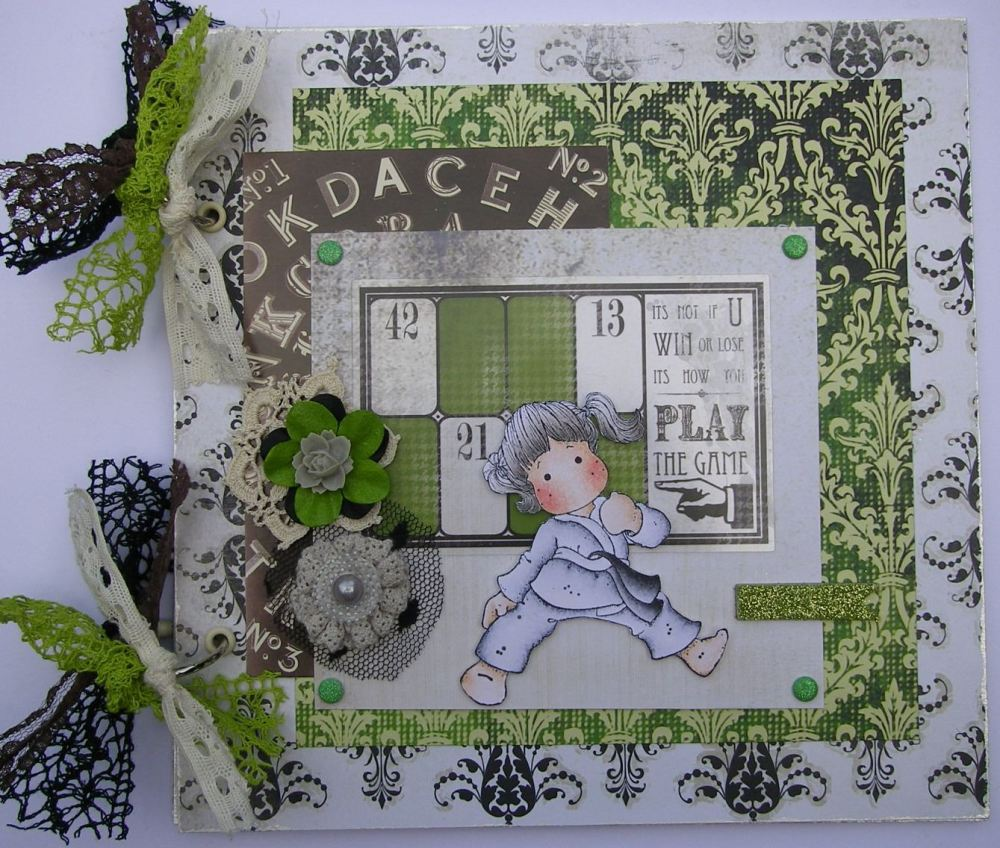 *win or lose* OOAK Handmade Karate Sports Scrapbook Photo Memory Album