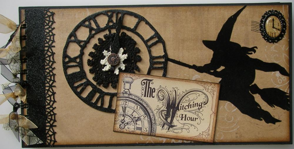 *the witching hour* OOAK Handmade Halloween Scrapbook Memory Album