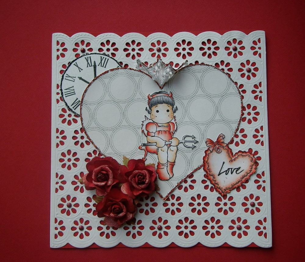 *old devil called love* OOAK Handmade Anniversary/Valentine Scrapbook Photo