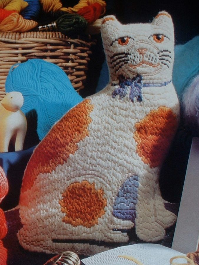Ginger & White Cat ~ Long Stitch Needlepoint Pattern