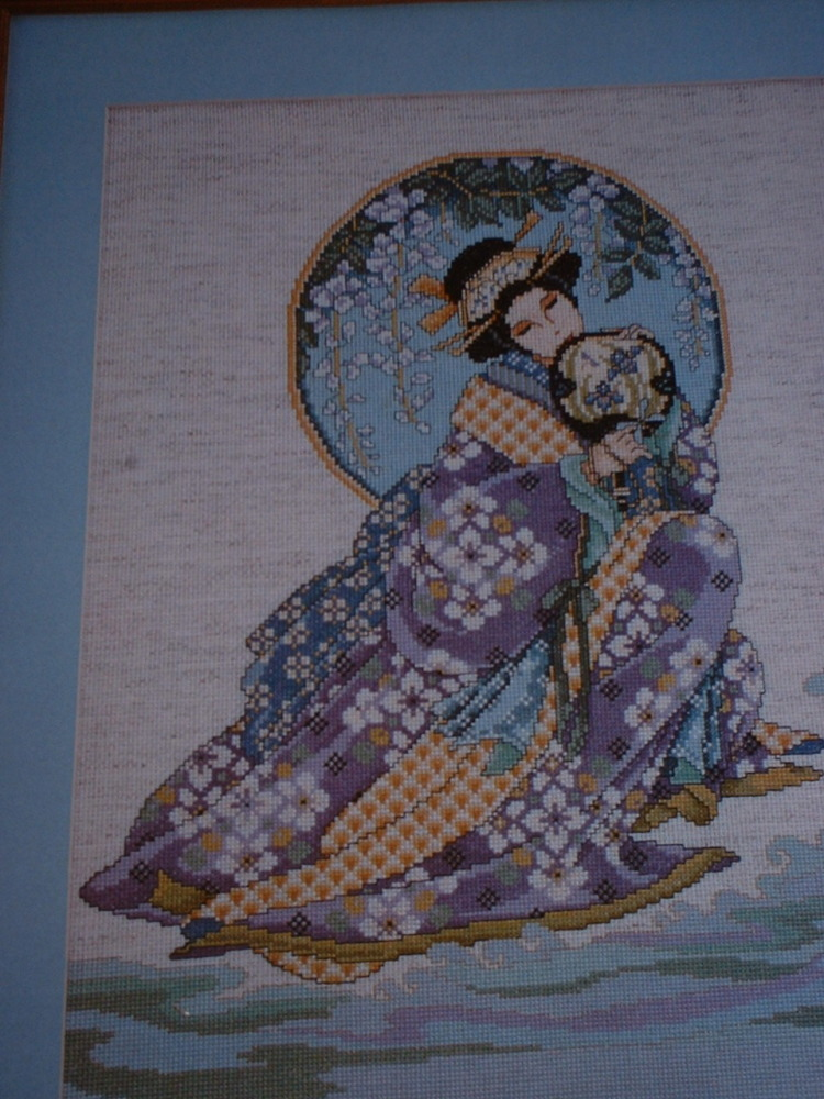 Oriental Japanese Lady in Silk Kimono ~ Cross Stitch Chart