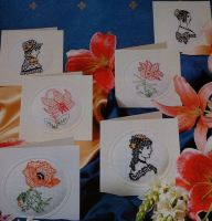 Blackwork People & Flower Cards ~ Blackwork Embroidery Patterns