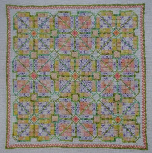 Colourful Elizabethan Knot Garden Hand Embroidery Patterns For Sale
