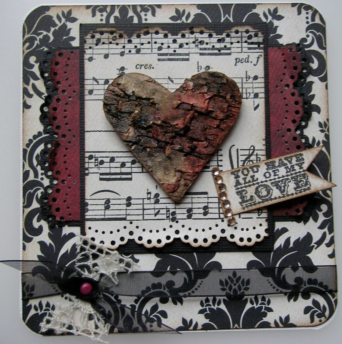 *you have all of my love* OOAK Handmade Vintage Love Card