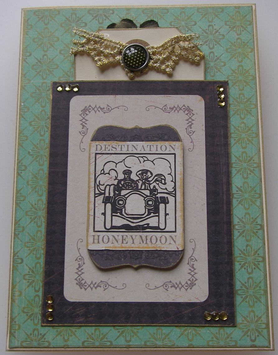 *destination honeymoon* OOAK Handmade Wedding Card