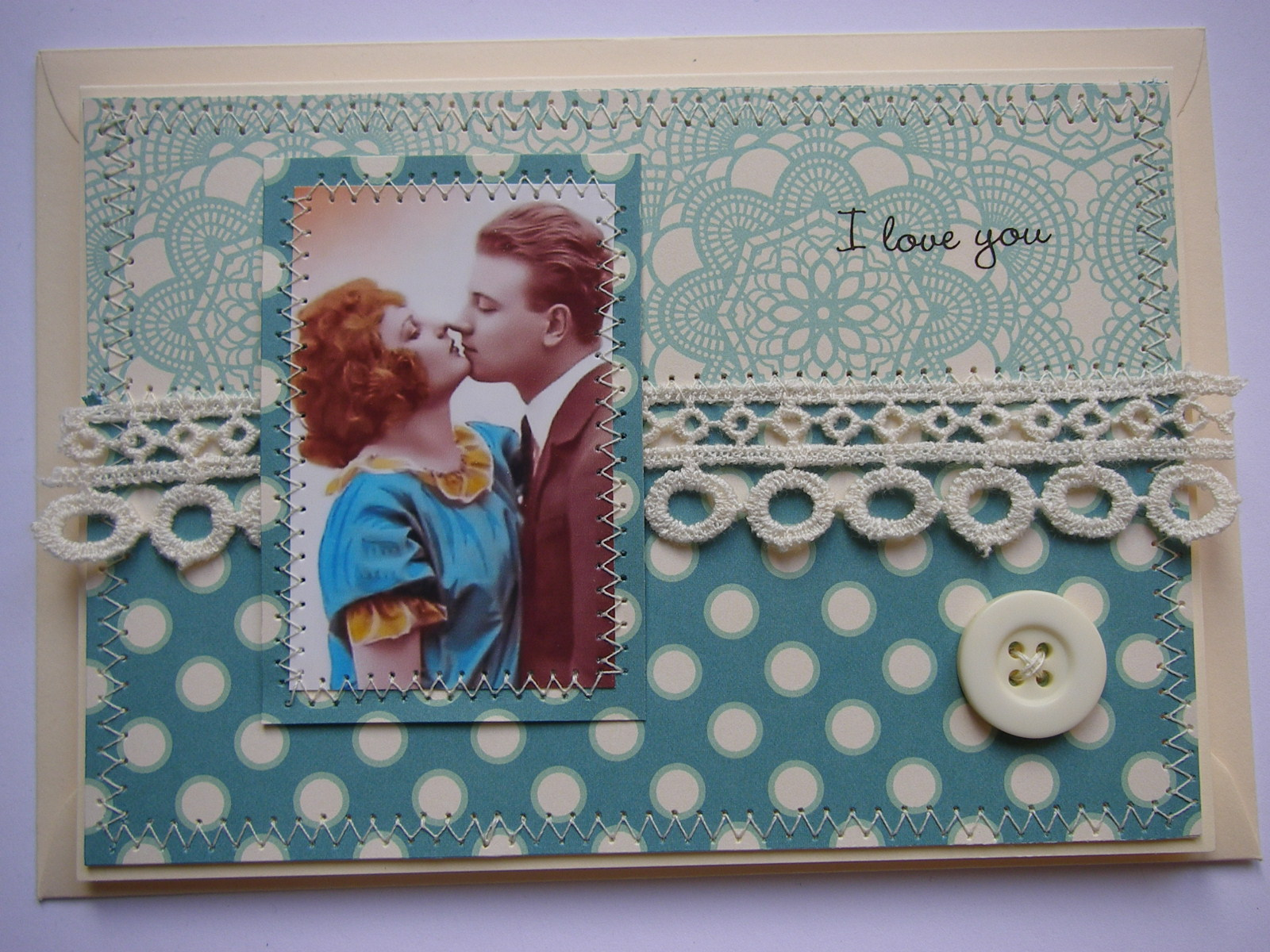 *i love you* OOAK Handmade Vintage Style Anniversary/Valentine Card