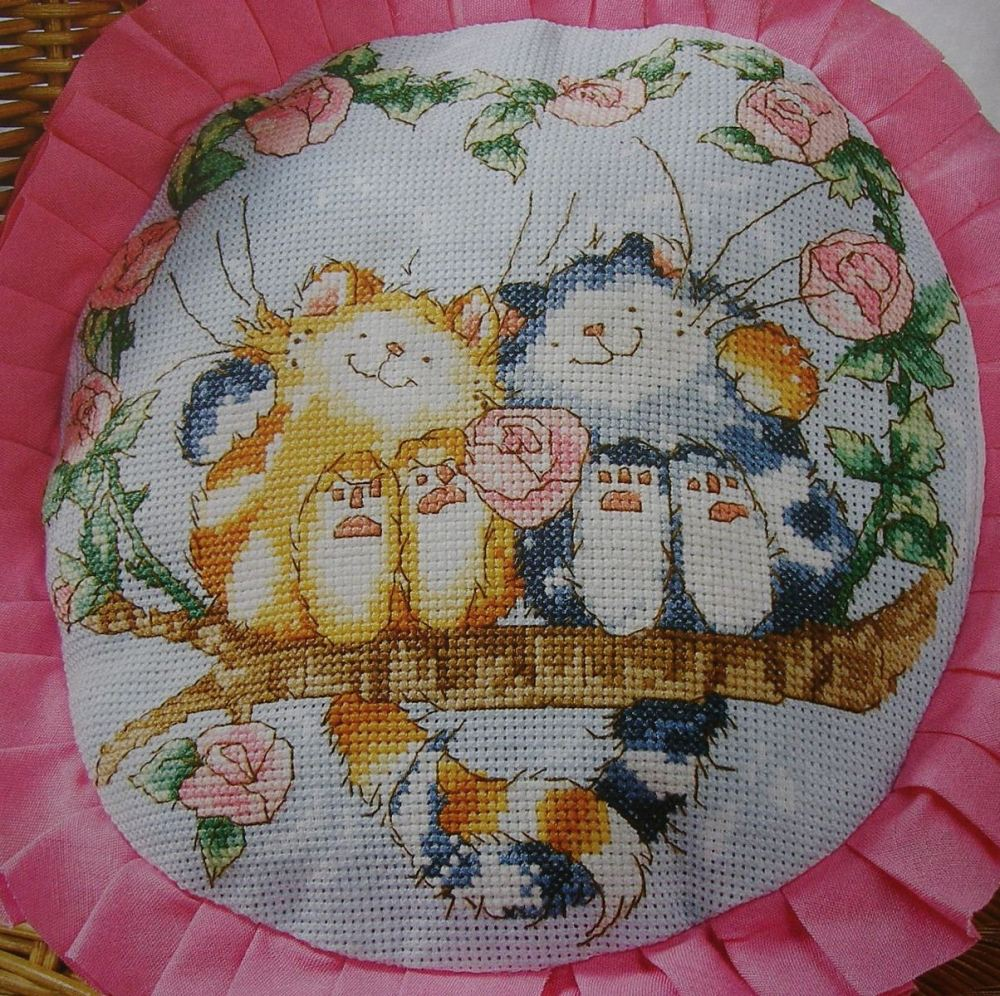 Margaret Sherry: Two Cats on a Branch ~ Cross Stitch Chart