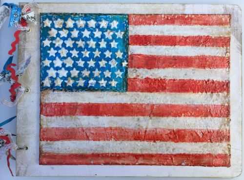 *we the people* Handmade Mixed Media American Flag Photo Memory Album