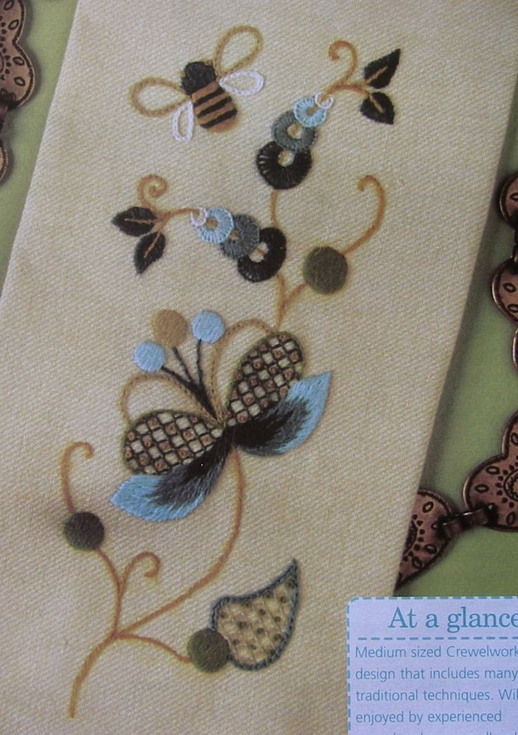 Jacobean Crewel Work Embroidery Floral Bee Bellpull