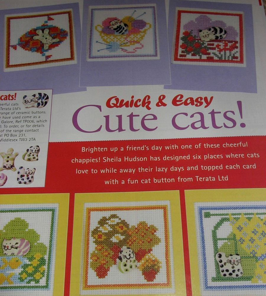 Six Cards for Cat Buttons ~ Cross Stitch Charts