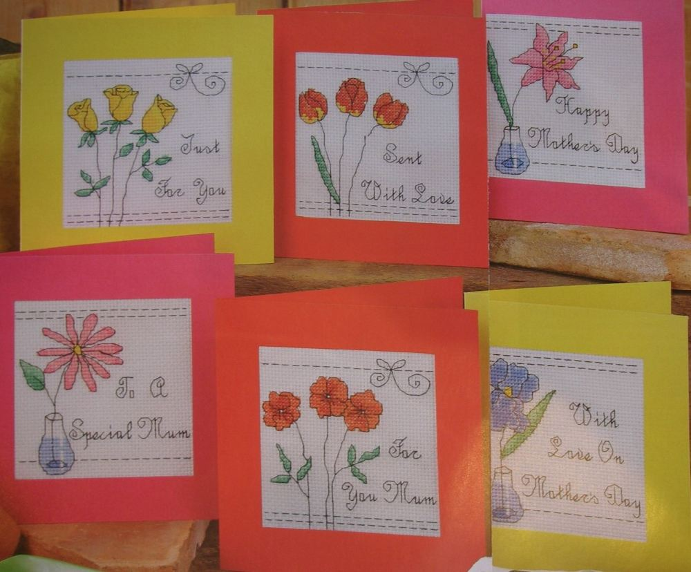 Six Floral Mother's Day Cards with Messages ~ Cross Stitch Charts