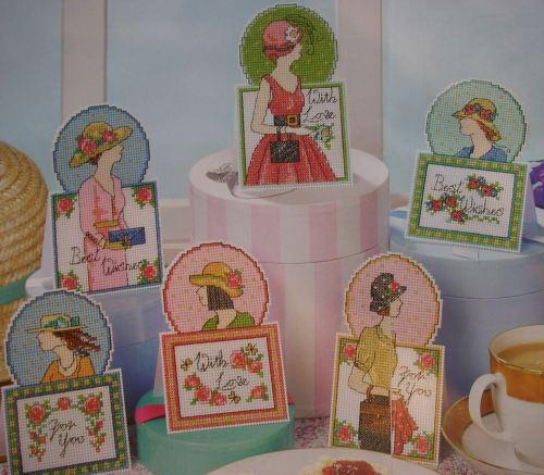 Hats & Handbags ~ Six Ladies Cross Stitch Cards Charts