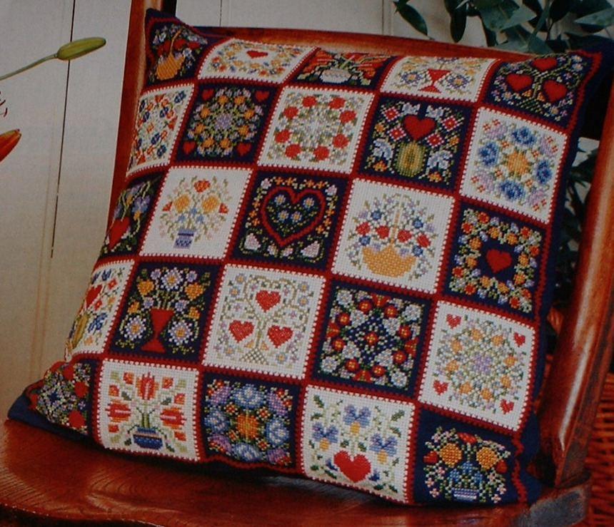 Folk Style Cushion & Dolls House Cushions ~ Cross Stitch & Petit Point Char