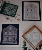 American House & Celtic Cross ~ Two Blackwork Patterns