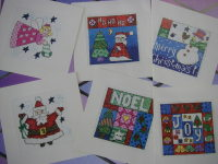 Six Folk Art Style Christmas Cards ~ Cross Stitch Charts