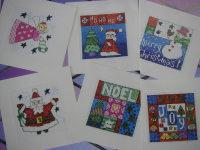 Six Folk Art Style Christmas Cards ~ Cross Stitch Charts