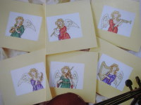 Six Angelic Musical Angels Christmas Cards ~ Cross Stitch Charts