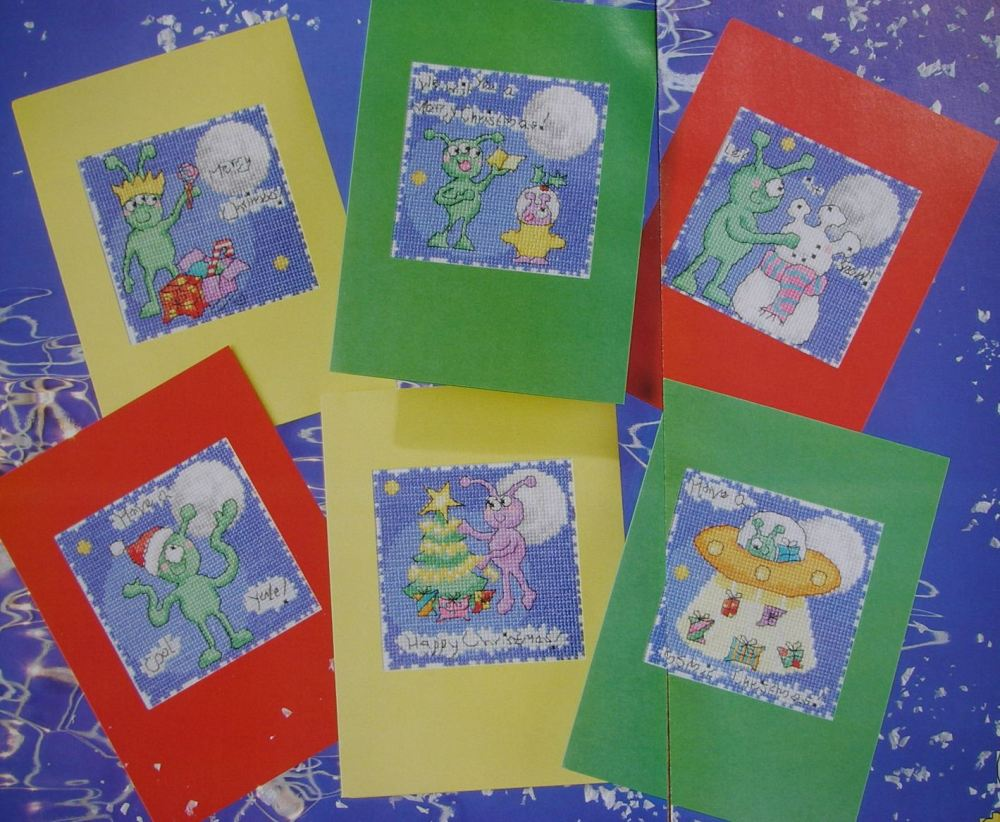 Six Alien Monster Christmas Cards ~ Cross Stitch Charts
