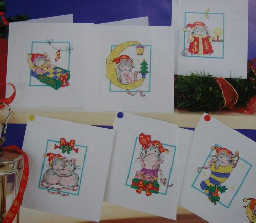Six Festive Mice Christmas Cards ~ Cross Stitch Charts