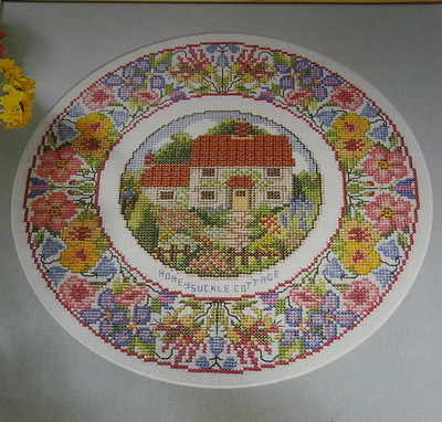 Honeysuckle Cottage Plate ~ Cross Stitch Chart