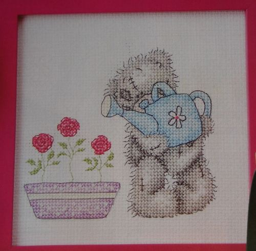 Tatty Ted Watering Pink Roses ~ Cross Stitch Chart
