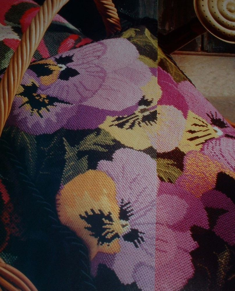 A Posy of Pansies Cushion ~ Needlepoint Chart