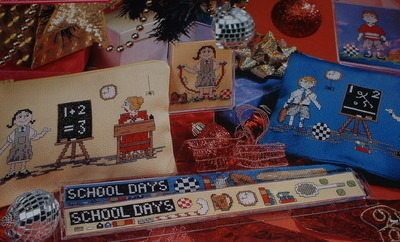 Boy & Girl School Sets ~ SIX Cross Stitch Charts