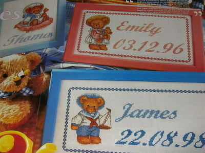Boy & Girl Teddy Bear Name Plates ~ Cross Stitch Charts
